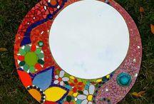 espejo redondo mosaico