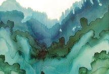 Aquarelle terre eau