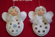 Wings: Angels, felts and fluffy whites / White angels in felts, fabrics, lace, tulle and fluff