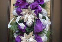 Purple and Silver Swag Wreath