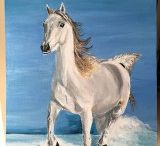 Acrylic Horse Paintings for Sale / Paintings of horses, acrylic on canvas, 30x40 cm