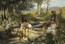 Henryk Siemiradzki / Nastrojowy nurt malarstwa Siemiradzkiego,  słynne monumentalne płótna w nurcie tym dominują kompozycje sielankowe – idylliczne.