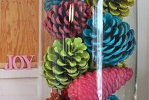 Painted Pine Cones / For a trendy design paint your pine cones to match your decor. They are easy to work with and fun for the whole family. Painting parties are perfect for children and the painted pine cones look like flowers that will brighten your room all year round.