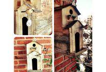 Casita para pájaros Doble, estilo vintage / Una casita muy particular, único diseño, adaptable para decorar en casas y departamentos