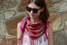 Multicolored striped knitted scarfs