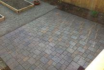 Paver Patios / Patio ideas using colorful clay brick pavers and designer concrete pavers