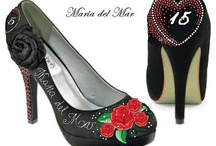 Quinceanera- sweet 16 / Wedding Shoes and Unique shoes Hand painted accessories Find at http://www.norakaren.com or request a custom pair at norakaren2002@yahoo.com / by Norakaren