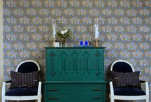Dining Room: Pattern inspirations / An inspirational scheme using Krane by Sharon Lee fine hand-made wallpaper.  www.kranewallpaper.com