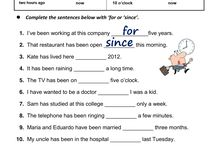 Worksheet Since and For