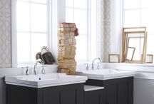 """Tresham vanity / Shaker style vanity available in Linen White, Woodland brown, or Mohair Grey.  24"""", 30"""", or 36""""cabinet with 12"""" bridge available to allow configuring to get the size you need. 14"""" linen tower also available."""