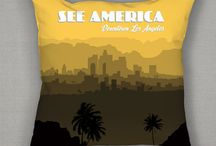 Pillows / Pillows available from a See America, reviving the legacy of the New Deal by inviting a new generation of artists and designers to create designs celebrating our national parks and treasured sites.