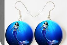 Really Cool Earrings / Mermaid Earrings, Button Charm Jewelry, $7.99