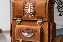 Men's vintage handmade messenger bag, print Joker / A comfortable men's messenger bag in a chocolate colour with designs of playing cards & skulls themes: a Joker engraved into the leather.