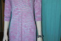 Petite robe rayé en maille / petite robe t-shirt rayé rose/gris