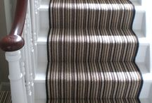 Striped Stair Runner / Client: Private residence in North London. Brief: To install Crucial Trading Mississipi Stripe 100% Wool Carpet to stairs and landings. The solution: Stairs were templated during first visit, removed to works for whipped edges, and runner installed on final visit.