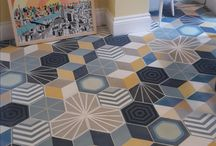 Hexagonal Cement Tiles / Hexagonal cement tiles on walls and floors