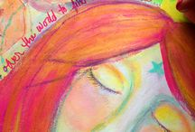 Art Journal Videos & Pictures / Bright, colorful paintings, coloring pages, art journal pages, videos, and more :)