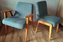 my JOB - PRLowskie sentymenty / 2 fotele 'Chierowski 366' i 2 krzesła 'Aga' odświeżone według życzenia klientki - drewniane ramy oczyszczone, sklejone/zbite, wyszlifowane, wybarwione, polakierowane; siedziska: zdarte stare wypełnienie, poklejone połamane ramy,naciągnięte pasy, wymienione gąbki i płótna, otapicerowane...