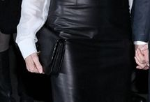 leather skirt and silk