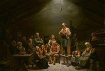 Adolph Tidemand / Adolph Tidemand (født 14. august 1814 i Mandal, død 8. august 1876 i Christiania) var en norsk maler. Flere av hans verk regnes for å være blant de mest kjente fra norsk nasjonalromantikk på 1840- og 1850-tallet. I særklasse står «Brudeferd i Hardanger» (1848) som han laget sammen med Hans Fredrik Gude. Verdt å nevne er også «Haugianerne» (1852).