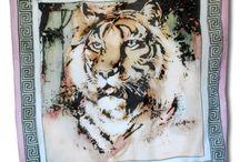 Zvieratá / Ručne maľované hodvábne šatky motivované zvieratami. www.mariejean.eu