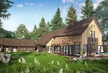 Landelijke woning / Een ontwerp wat zich onderscheidt van de standaard woningen, er is gebruikt gemaakt van natuurlijke materialen zoals eiken, steen en riet.