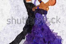 pencil drawing dancing couple