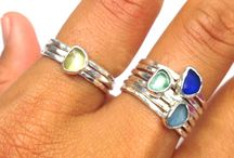 Sea Glass Mini Stacking Rings