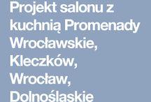 Projekt salonu z kuchnią Promenady Wrocławskie, Kleczków, Wrocław, Dolnośląskie