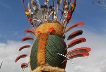 Tribo- Kalan, Nova Guiné / adornos de cabeça da tribo aborígene da Indonésia/Papua Nova Guiné, Kalan