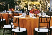 Orange Weddings / Wedding tablecloths and special event linens for an orange party.