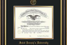 Saint Joseph's University Diploma Frames & Graduation Gifts! / Official SJU Diploma frames. Exquisitely crafted to exacting specifications for the SJU diploma. Custom framed using hardwood mouldings and all archival materials, including UV glass to prevent fading from sunlight AND indoor incandescent lighting! Each frame exceeds Library of Congress standards for document preservation and includes a 100% lifetime guarantee, ensuring that a hard-earned achievement will be honored and protected for generations. Makes a thoughtful and unique graduation gift!