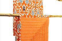 Orange / Orange decor, orange furniture, textiles, pillows, ottomans,orange kantha bedspreads