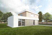 Studie dvoupodlažního rodinného domu s pultovou střechou / Vycházeli jsme z požadavků investora na jednoduchou a nenákladnou stavbu rodinného domu s garáží pro rodinu s dvěma dětmi.