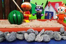 アンパンマンおもちゃアニメ❤海水浴でスイカ割り!の巻 Anpanman toys