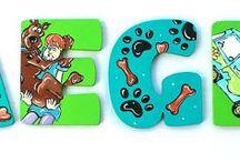 Cartoon Nursery Decor, Cartoon Painted Letters, Cartoon Wall Hangings