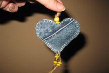 My denim hearts / hearts, denim, jeans, denim heart, diy, craft, homemade, gift, keychain, creative, xmas decoration, ornament