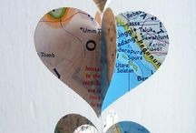 Map heart garland / Maps