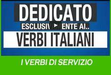 I verbi di servizio / I verbi di servizio possono avere un loro significato e possono essere utilizzati autonomamente,  vengono utilizzati come sostegno di altri verbi, dei quali specificano, completano e arricchiscono il loto significato.