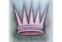 Crown Art for Princess / Princess art for children, Nursery Wall Art, Little Prince Art, Custom Name, Custom colors  Check out my shop: http://www.etsy.com/shop/handpainting?ref=si_shop
