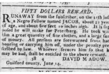 Runaway slave advertisements / The North Carolina Runaway Slave Advertisements project provides online access to all known runaway slave advertisements (more than 2300 items) published in North Carolina newspapers from 1751 to 1840