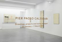 Pier Paolo Calzolari / Pier Paolo Calzolari: Works on Paper 23 January - 7 March 2015.  Calzolari distinguished himself through his refusal of the avant-garde's rejection of the past, his work seeking an equal and horizontal relationship between past, present and future. Calzolari's sculptural installations are known for capturing ephemera and use elemental materials including frost, fire, salt, lead, water, copper, neon, moss, roses, feathers, eggs and tobacco leaves.