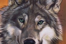 Oil paintings of wolves