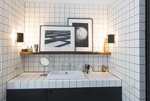 Toilettes carreaux blancs joints noirs