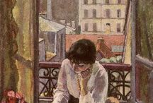 woman reading painting