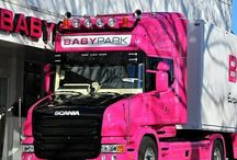 Pink scania truck