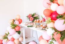 Mothers Day Brunch / Rose Gold, Peach and pink with florals and stripes create this summery Mothers Day party theme