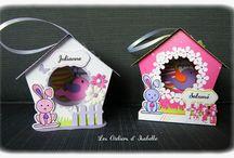 Nichoirs de Pâques / Nichoirs décoratifs en papier. Personnalisables avec un prénom. Cadeau unique et original.