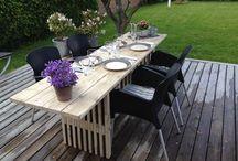 Havebord lavet i planker og traller