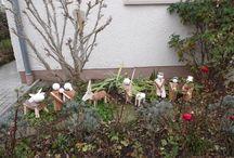 Krippenfiguren / Selbst gefertigte Krippenfiguren aus Kaminholz für den Vorgarten, Weihnachten 2016